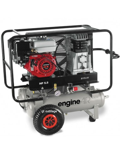 Compresseur d'air thermique mobile moteur Honda essence 4,8 CV cuve 2 x 11litres ABAC